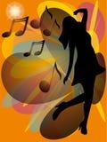 在抽象葡萄酒背景的女孩跳舞 免版税库存照片