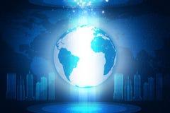 在抽象蓝色背景的地球与3d城市 库存图片
