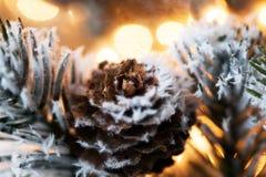 在抽象金黄背景的圣诞树 免版税库存照片