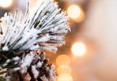 在抽象金黄背景的圣诞树 库存照片