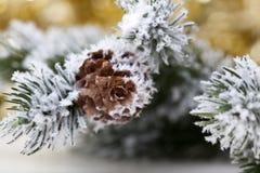 在抽象金黄背景的圣诞树 免版税图库摄影