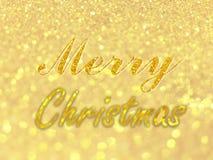 在抽象金bokeh的圣诞快乐文本为圣诞节背景,闪烁轻的defocused和被弄脏的盘旋bokeh 免版税图库摄影