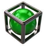 在抽象银色立方体的绿色球形 免版税库存图片