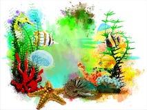 在抽象水彩背景的水下的热带世界