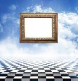 在抽象幻想背景的古老被雕刻的长方形宝石 免版税库存照片