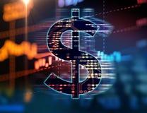 在抽象财政技术背景的美元的符号 免版税库存照片