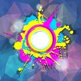 在抽象紫色背景的五颜六色的难看的东西框架 免版税库存照片