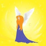 在抽象黄色背景的妇女天使 免版税库存图片