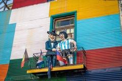 在拉博卡邻里-布宜诺斯艾利斯,阿根廷的五颜六色的大厦 免版税库存照片