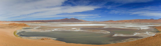 在拉古纳全景的看法从路23,阿塔卡马沙漠,北智利 库存照片