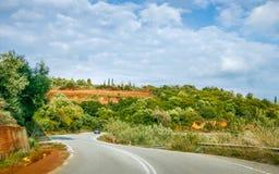 在拉哥尼亚的乡下路,伯罗奔尼撒,希腊 库存照片