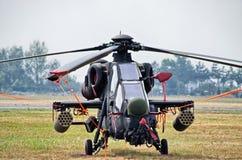 在拉多姆Airshow,波兰的土耳其T-129 ATAK直升机 免版税图库摄影