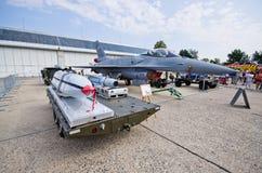 在拉多姆Airshow,波兰的F-16 库存图片