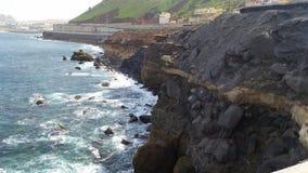 在拉斯帕尔马斯大加那利岛的岸 免版税图库摄影