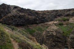 在拉斯帕尔马斯,大加那利岛附近的沿海步行 免版税图库摄影
