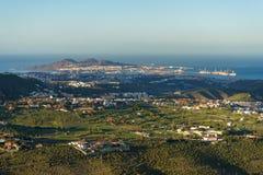 在拉斯帕尔马斯,大加那利岛,西班牙的日落视图 免版税库存图片