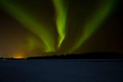 在拉普兰的北极光 免版税库存照片