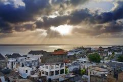 在拉穆海岛上的拉穆镇在肯尼亚。 库存照片