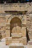 在拉纳卡堡垒的中世纪龙头 图库摄影