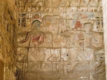 在拉美西斯三世太平间寺庙的五颜六色的题字Medinet的波布 免版税库存图片