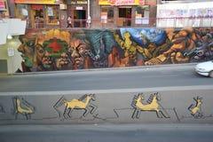 在拉巴斯街道上的街道画  免版税库存照片