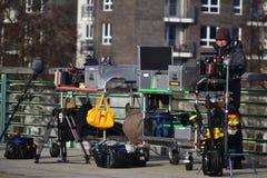 在拍摄影片前的准备在Spandau.berlin 13.01.2014。 库存照片