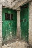在拖着脚走路的墙壁的两个老绿色木材门 库存图片