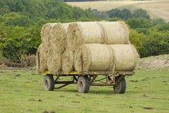 在拖车的干草捆 免版税图库摄影