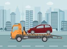 在拖车的打破的汽车,在城市背景 库存例证
