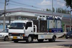 在拖车的Maejo幻灯片紧急汽车移动和Ceash汽车的 免版税库存图片