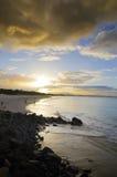 在拜伦海湾澳大利亚的日落 库存图片
