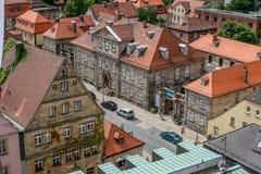 在拜罗伊特德国巴伐利亚的老镇的顶视图 免版税库存图片