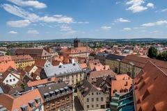 在拜罗伊特德国巴伐利亚的老镇的顶视图 库存照片