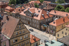 在拜罗伊特德国巴伐利亚的老镇的顶视图 库存图片