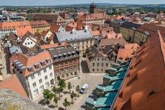 在拜罗伊特德国巴伐利亚的老镇的顶视图 图库摄影