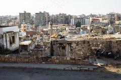 在拥挤城市的黎波里,黎巴嫩的看法 库存图片