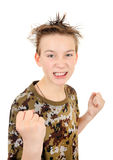 在拳击手姿势的恼怒的孩子 库存照片