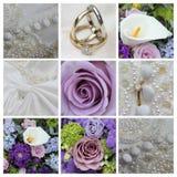 在紫色的婚礼拼贴画 图库摄影