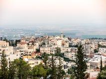 在拿撒勒,更低的内盖夫加利利附近的阿拉伯村庄 图库摄影
