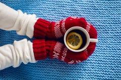 在拿着一个杯子茶的红色手套的女性手 库存照片