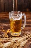 在拿着一杯与泡沫的低度黄啤酒的手的看法上,与麦子分支和麦子在一张木桌上 图库摄影