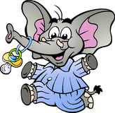 在拿着安慰者的睡衣的男孩大象 免版税库存图片