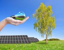 在拿着电灯泡的草甸和手的太阳能盘区 免版税库存照片