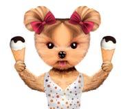 在拿着的比基尼泳装的滑稽的动物冰淇凌 向量例证