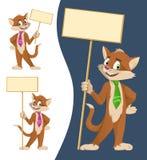 在拿着空白的横幅的领带的滑稽的动画片猫 库存图片