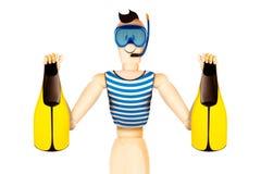 在拿着鸭脚板的潜水面具的滑稽的字符 免版税库存照片