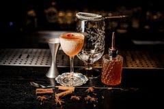 在持有人和另外侍酒者设备的新鲜的橙色鸡尾酒 免版税库存图片
