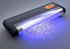 在指纹的手扶的紫外光 免版税库存图片