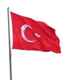 在挥动在风的旗杆的土耳其旗子 免版税库存图片
