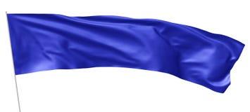 在挥动在风的旗杆的长的蓝旗信号 库存图片
